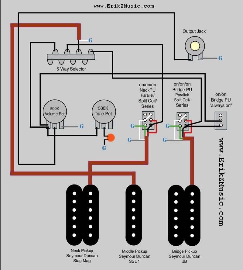 Warmothstraton Wiring Diagram 2 Pickup 3 Way Switch One Volume